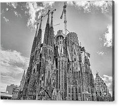 Gaudi La Sagrada Blk Wht Acrylic Print