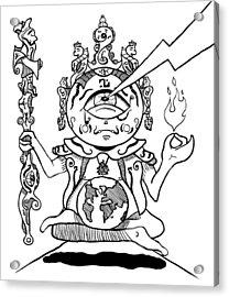 Gautama Buddha Black And White Acrylic Print