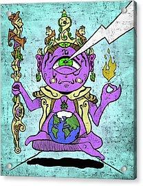 Gautama Buddha Colour Illustration Acrylic Print