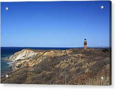 Acrylic Print featuring the photograph Gay Head Lighthouse And Cliffs by Greg DeBeck