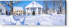 Gazebo And Town In Winter, Danville Acrylic Print by Panoramic Images
