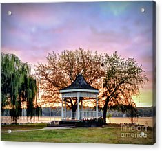 Acrylic Print featuring the photograph Gazebo Sunrise At Claytor Lake by Kerri Farley