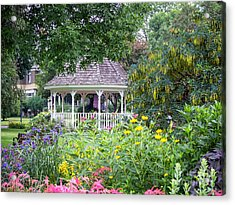 Gazebo With Summer Blooms Acrylic Print