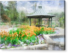 Acrylic Print featuring the digital art Gazebo With Tulips by Francesa Miller