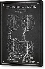 Geaographical Globe Patent From 1900 - Charcoal Acrylic Print