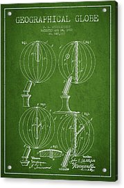 Geaographical Globe Patent From 1900 - Green Acrylic Print