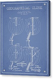 Geaographical Globe Patent From 1900 - Light Blue Acrylic Print