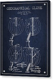 Geaographical Globe Patent From 1900 - Navy Blue Acrylic Print