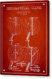 Geaographical Globe Patent From 1900 - Red Acrylic Print