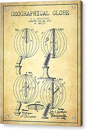 Geaographical Globe Patent From 1900 - Vintage Acrylic Print