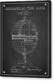 Geaographical Time Globe Patent From 1900 - Charcoal Acrylic Print