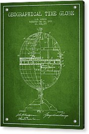 Geaographical Time Globe Patent From 1900 - Green Acrylic Print