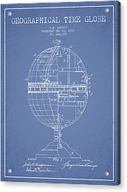 Geaographical Time Globe Patent From 1900 - Light Blue Acrylic Print