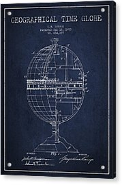 Geaographical Time Globe Patent From 1900 - Navy Blue Acrylic Print