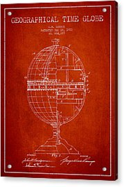 Geaographical Time Globe Patent From 1900 - Red Acrylic Print