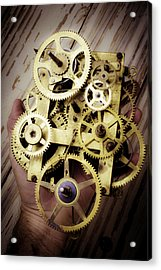 Gears Held By Hand Acrylic Print by Garry Gay