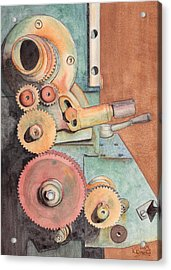 Gears Acrylic Print by Ken Powers