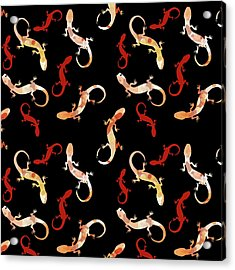 Acrylic Print featuring the mixed media Gecko Pattern by Christina Rollo