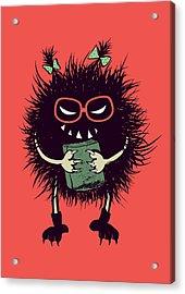 Geek Evil Bug Character Loves Reading Acrylic Print
