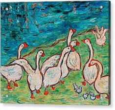 Geese By The Pond Acrylic Print by Xueling Zou