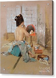 Geisha At Her Toilet  Acrylic Print by Robert Frederick Blum