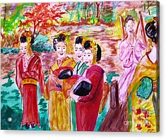 Geisha Girl Friends Acrylic Print