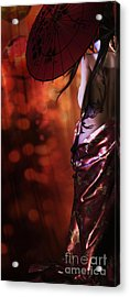 Acrylic Print featuring the digital art Geisha Gold Crop by Shanina Conway