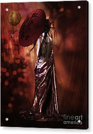 Acrylic Print featuring the digital art Geisha Gold by Shanina Conway
