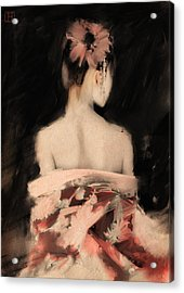 Geisha In Pink Acrylic Print by H James Hoff