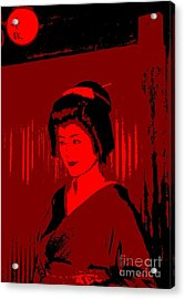 Geisha In Red Acrylic Print by Louise Fahy