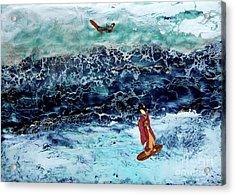 Geisha Surfing  Acrylic Print by Andy  Mercer