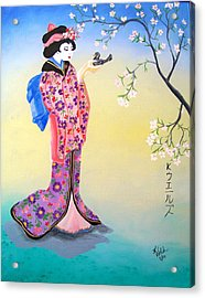 Geisha With Bird Acrylic Print