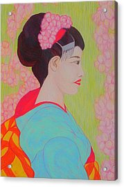 Geisha With Cherry Blossoms Acrylic Print