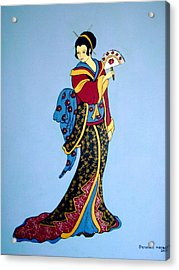 Acrylic Print featuring the painting Geisha With Fan by Stephanie Moore