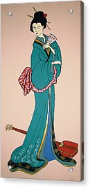 Acrylic Print featuring the painting Geisha With Guitar by Stephanie Moore