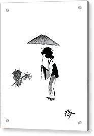 Geisha With Parasol Acrylic Print
