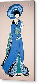 Acrylic Print featuring the painting Geisha With Parasol by Stephanie Moore