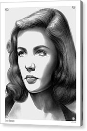Gene Tierney Acrylic Print by Greg Joens