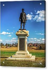 Acrylic Print featuring the photograph General Abner Doubleday - Gettysburg National Park by Nick Zelinsky