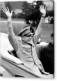 General Dwight Eisenhower Raises Both Acrylic Print by Everett