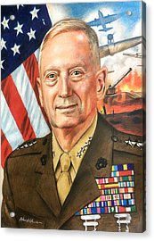General Mattis Portrait Acrylic Print by Robert Korhonen