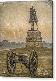 General Meade Statue And Cannon Gettysburg Acrylic Print by Randy Steele