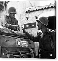General Patton In Sicily Acrylic Print by War Is Hell Store