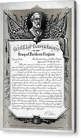 Acrylic Print featuring the mixed media General Robert E. Lee's Farewell Address To Confederate Soldiers by Daniel Hagerman