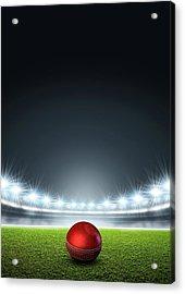 Generic Floodlit Stadium With Cricket Ball Acrylic Print by Allan Swart