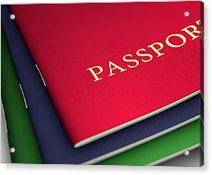 Generic Passport Stack  Acrylic Print by Allan Swart