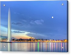 Geneva Lake With Famous Fountain, Switzerland, Hdr Acrylic Print