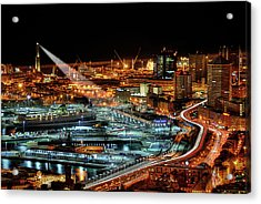 Genoa And The Lighthouse By Night - Genova E La Sua Lanterna  Acrylic Print