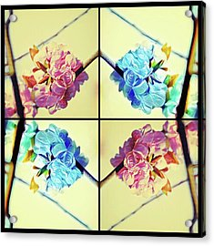 Geometric Cherry Blossoms Acrylic Print