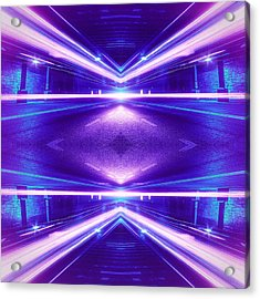 Geometric Street Night Light Pink Purple Neon Edition  Acrylic Print by Philipp Rietz